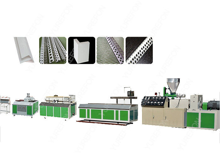 Conical Twin Screw PVC Profile Extrusion Line , Stainless Steel Plastic Corner Production Machine