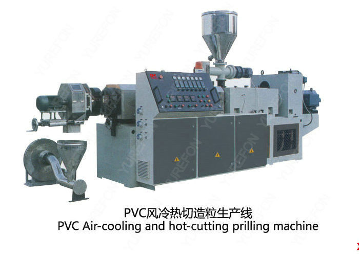 Conical Twin Screw PVC Plastic Scrap / Flakes Pelletizing Recycling Machine Hot Cutting